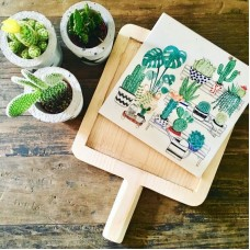 Cactus Patterned Wooden Cutting Plate - SR-19SRTRPB012