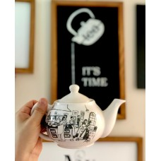 Teapot With Black and White Patterned - DM-19DMSB007