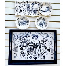 Black and White Patterned Tray - SR-19SRSB023