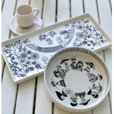 Black and White Patterned Plate - TB-19TBSB069